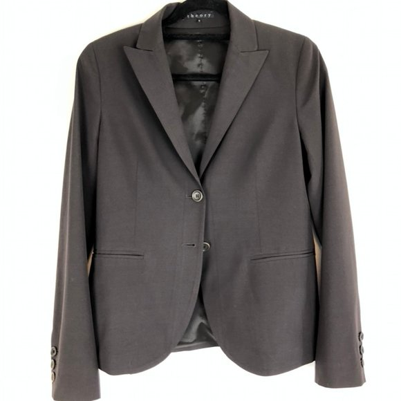 Theory Classic Two Button Black Wool Jacket